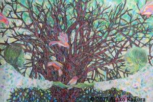 14_木と鳥と人物